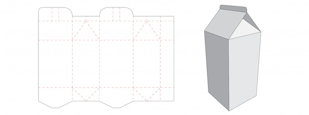 Milk box packaging die cut template design