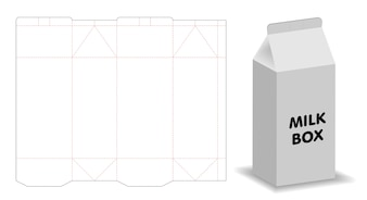 ミルクボックステンプレートdielineと3dモックアップ