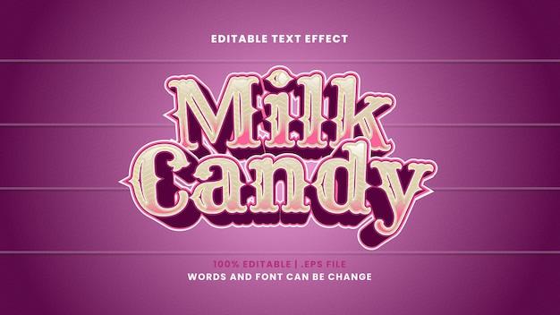 Редактируемый текстовый эффект молочных конфет в современном 3d стиле