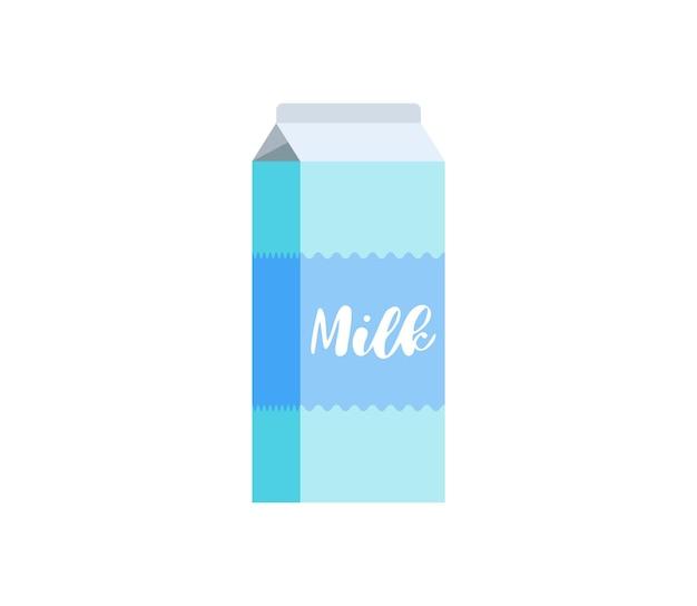 白い背景で隔離のミルクカートンボックスパックアイコン。朝食乳製品青いボール紙包装シンボルベクトルフラットepsイラスト