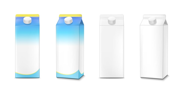 Milk carton boxes mockup blue color and white blank