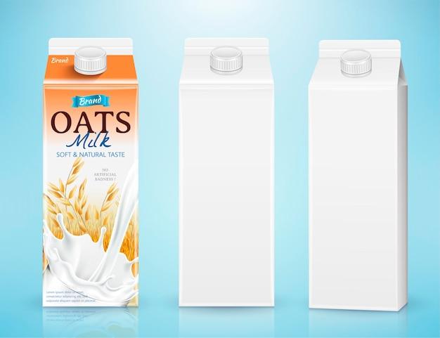 Картонный контейнер для молока в 3d иллюстрации на синем