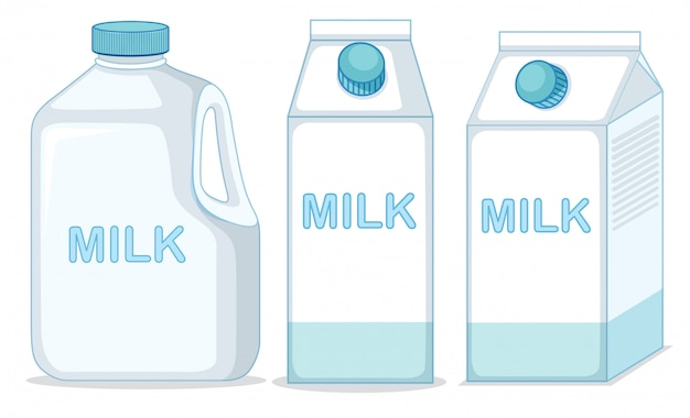 Milk cartons and bottle
