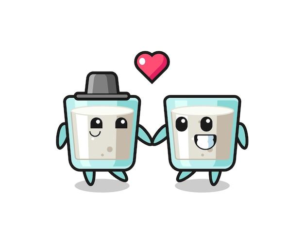 恋に落ちるジェスチャー、tシャツ、ステッカー、ロゴ要素のかわいいスタイルのデザインとミルク漫画のキャラクターのカップル