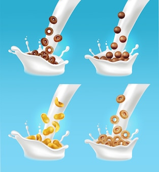 Milk and cereals splash