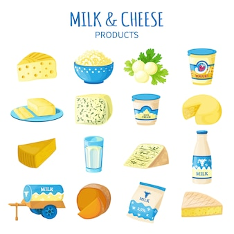 Set di icone di latte e formaggio