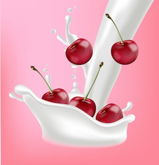 Milk and cherry fruits splash