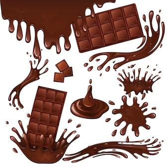 Milk chocolate bar and splashes