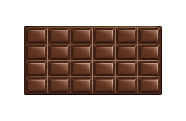 Milk chocolate bar. square whole piece of sweet natural chocolate isolated