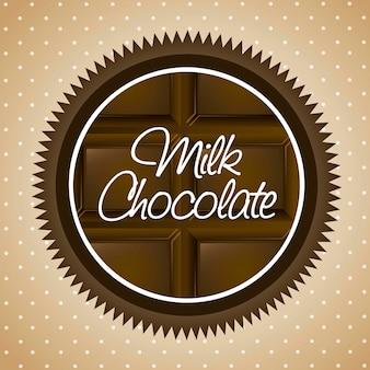 Milk chocolate label over beige background vector illustration