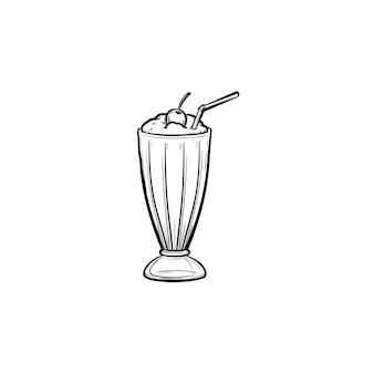 Молочный коктейль с вишней мараскино и соломой в высоком стакане рисованной наброски каракули значок. стакан молочного коктейля со взбитыми сливками вектор эскиз иллюстрации для печати, интернета, мобильных устройств и инфографики.
