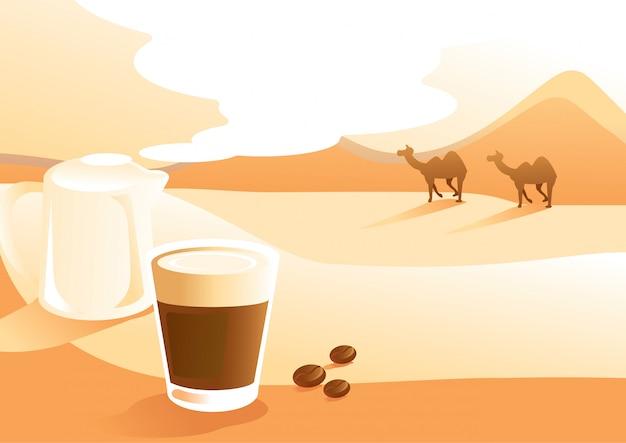 砂漠の眺めの背景イラストとミルクコーヒー