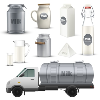 Milk containers realistic set