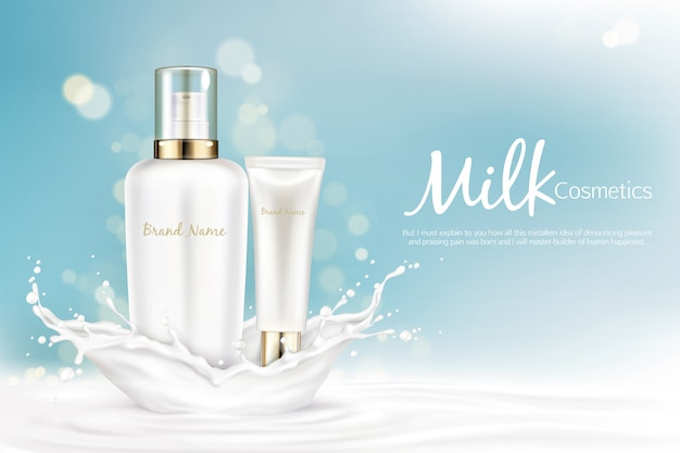 Milk cosmetics bottles mockup with space for name brand stand at milky splash