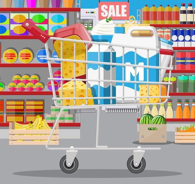 スーパーマーケットのミルクカウンター。ファーマーショップまたは食料品店。乳製品は食品のコレクションを設定します。ミルクチーズヨーグルトバターサワークリームコテージクリーム農産物。ベクトルイラストフラットスタイル