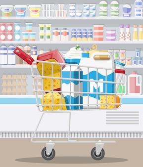 スーパーマーケットのミルクカウンター。ファーマーショップまたは食料品店。