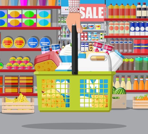 슈퍼마켓의 우유 카운터
