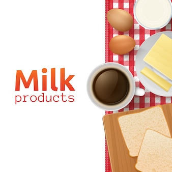 Milk and dairy products design concept with healthy and wholesome breakfast
