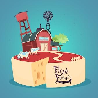 Milk dairy products eco fresh farm banner