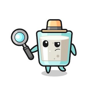 ミルク探偵キャラクターがケースを分析している、tシャツ、ステッカー、ロゴ要素のかわいいスタイルのデザイン
