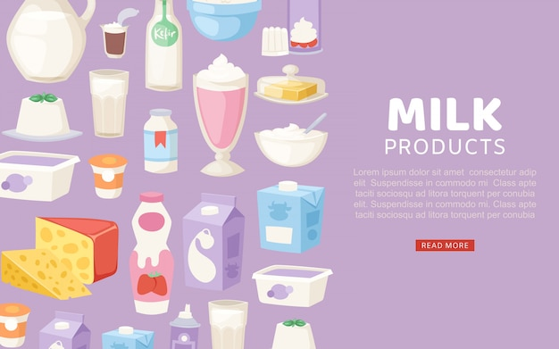 Milk and diary healthy products banner with different sorts of cheese, sour cream, yogurt and butter banner template