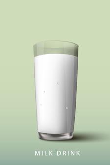 우유는 녹색 배경에 유리를 마신다.