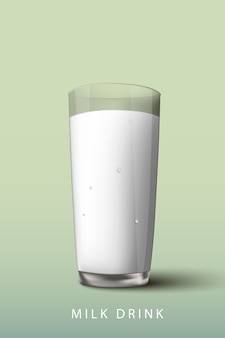 Milk drink a glass on a green background.