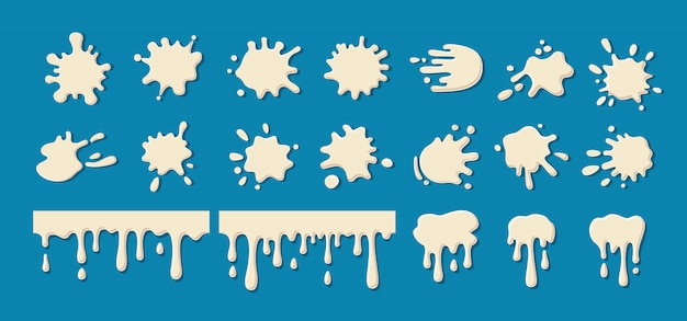 Milk drip splatters blob set. white yogurt, cream current splatter collection. decorative shapes liquids. stain shape collection, drops cartoon flat spatters. isolated  illustration
