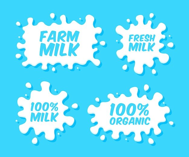 Milk emblems and dairy labels with splashes and blots. vector milk stains and drops of cream