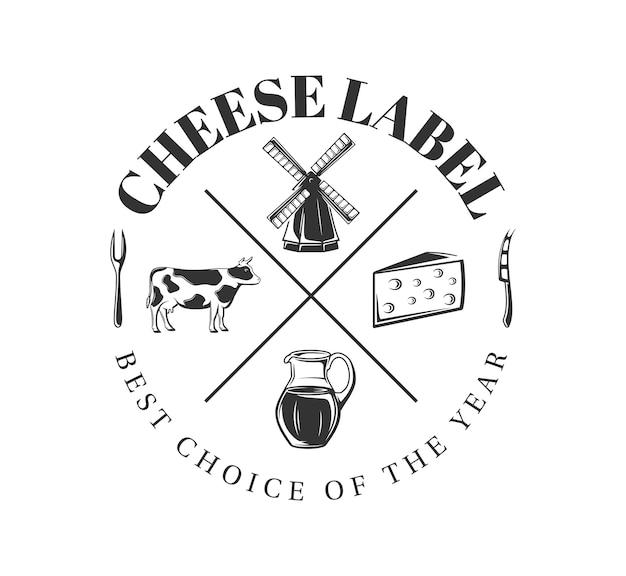 白い背景の上の牛乳ラベル。チーズ農場の要素。ロゴ、看板、ブランディングのテンプレートです。図