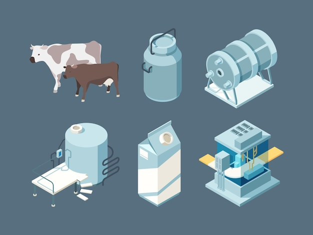 Milk farm products production ice cream cheese yogurt isometric set.