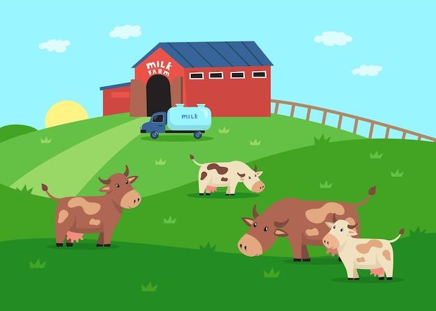 草のイラストを食べる幸せな牛のキャラクターとミルクファーム