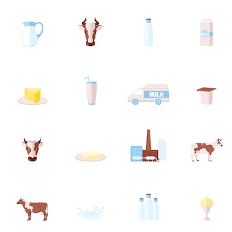 Milk flat icons set