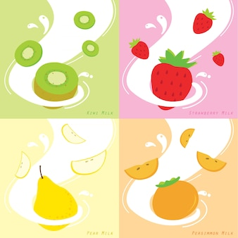 Milk flavor kiwi strawberry persimmon pear vector