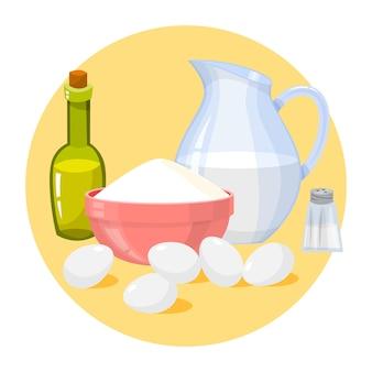 牛乳、小麦粉、卵。キッチンで調理するための材料。