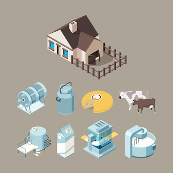 Milk food factory. dairy healthy farm products cheese milk yogurt production technology isometric.