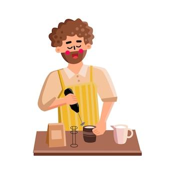 우유 거품기 도구 남자는 라떼 벡터를 준비하기 위해 사용합니다. 우유 거품을 만들고 커피 에너지 음료를 준비하기 위해 전자 장비를 사용하는 어린 소년 바리스타. 캐릭터 플랫 만화 일러스트 레이션