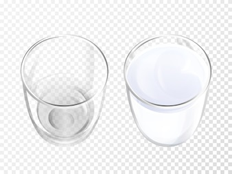 Milk glass 3D illustration of realistic crockery for dairy drink or yogurt top view.