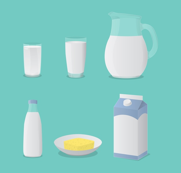 Milk in glass bottle and cheese set collection