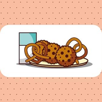 クッキーとプレッツェルが入ったミルクグラス