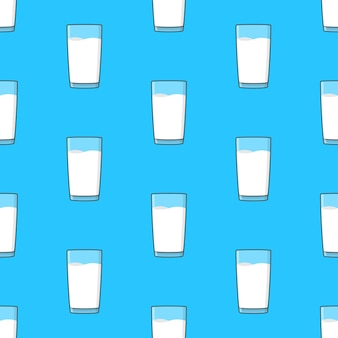 Milk glasses seamless pattern on a blue background. milk theme illustration