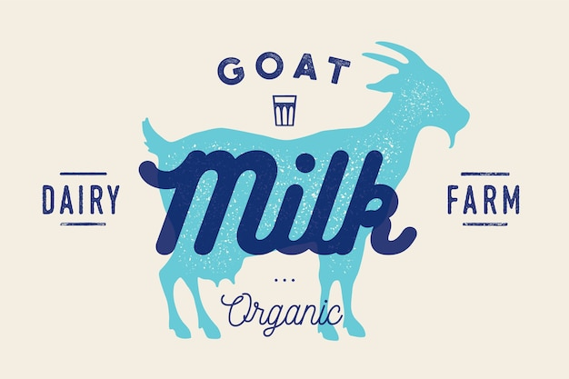 Milk, goat. logo with goat silhouette, text milk, dairy farm, organic, natural product.