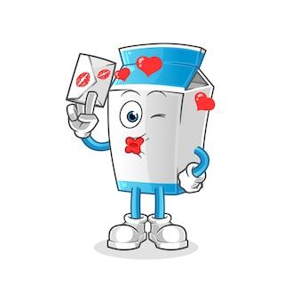 Milk hold love letter illustration. character
