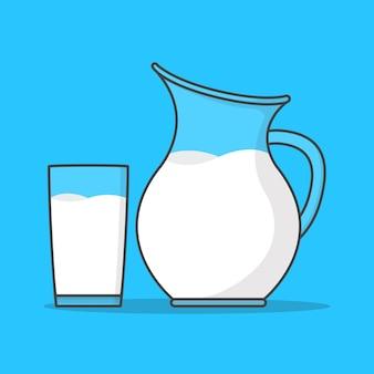 유리와 용기에 우유. 우유 플랫 투수