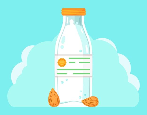 Молоко в стеклянной бутылке и миндальные орехи
