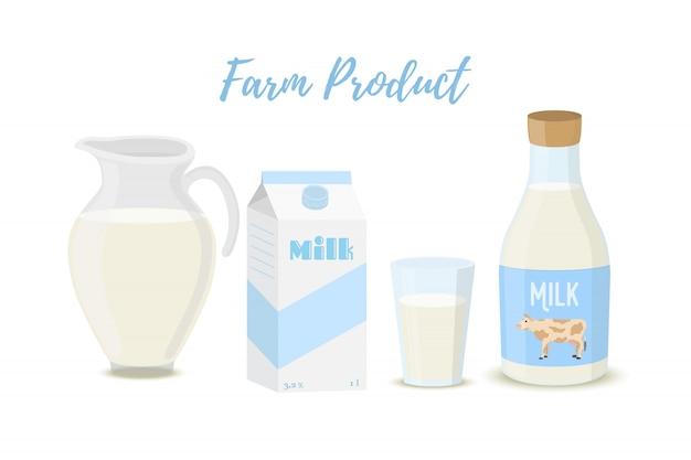 항아리, 병, 유리 및 판지 패키지에 담긴 우유