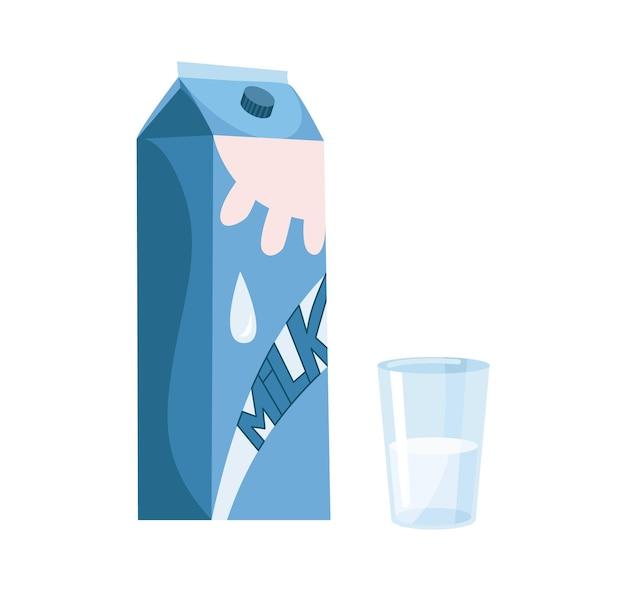 テトラパックとガラスのミルク。生地、クッキー、クロワッサンを作るための材料と調理器具。フラット漫画ベクトル分離アイコン