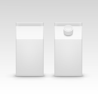Milk juice carton packaging package box white blank isolated vector set