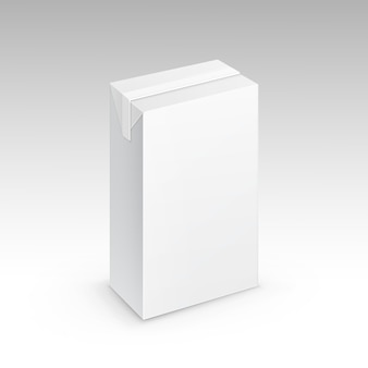 Milk juice carton packaging package box white blank isolated vector