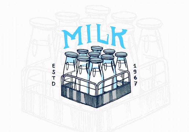 Milk label. vintage bottles logo for shop.